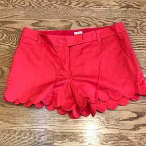 J.Crew linen-cotton scalloped hem shorts